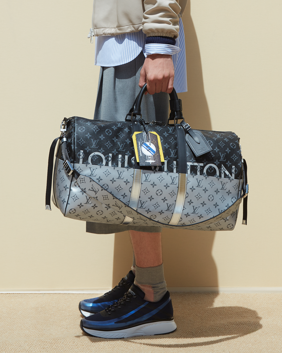 15ae92d98846 Details of a look and Monogram Eclipse Split Keepall from the Louis Vuitton  Men s Spring Summer 2018 Fashion Show by Kim Jones