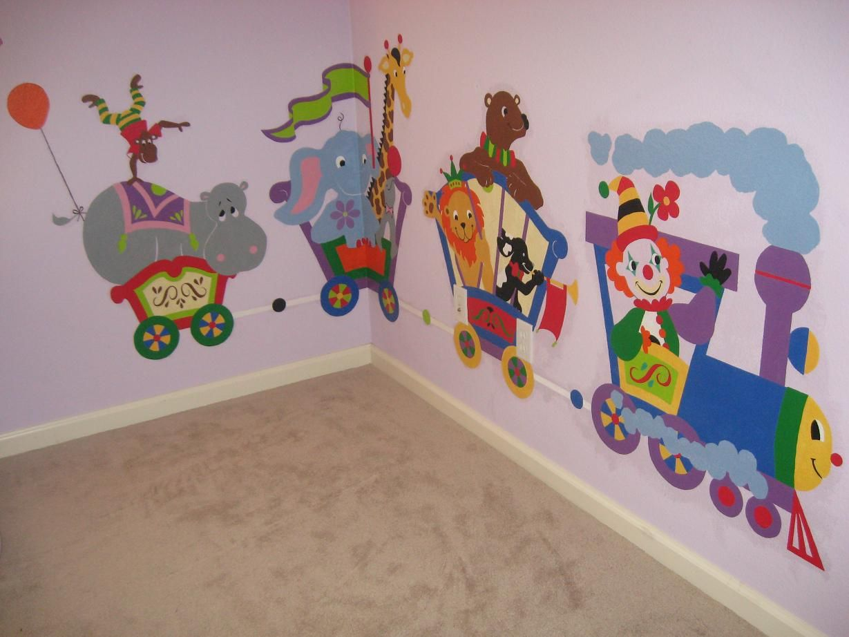 Large Circus Train Paint by Number Wall Mural DecoEDU