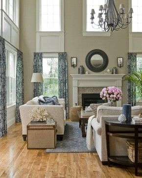 Like this for  story family room the trim under upper windows and that nothing is hung above curtain line also rh pinterest
