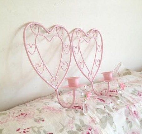 Pair Shabby Chic Pink Homco Heart Shaped Wall Candle Sconces Prisms Roses Very Ornate Metal Scrolly Curly Cues Vintage Wall Candles Shabby Chic Pink Chic Pink