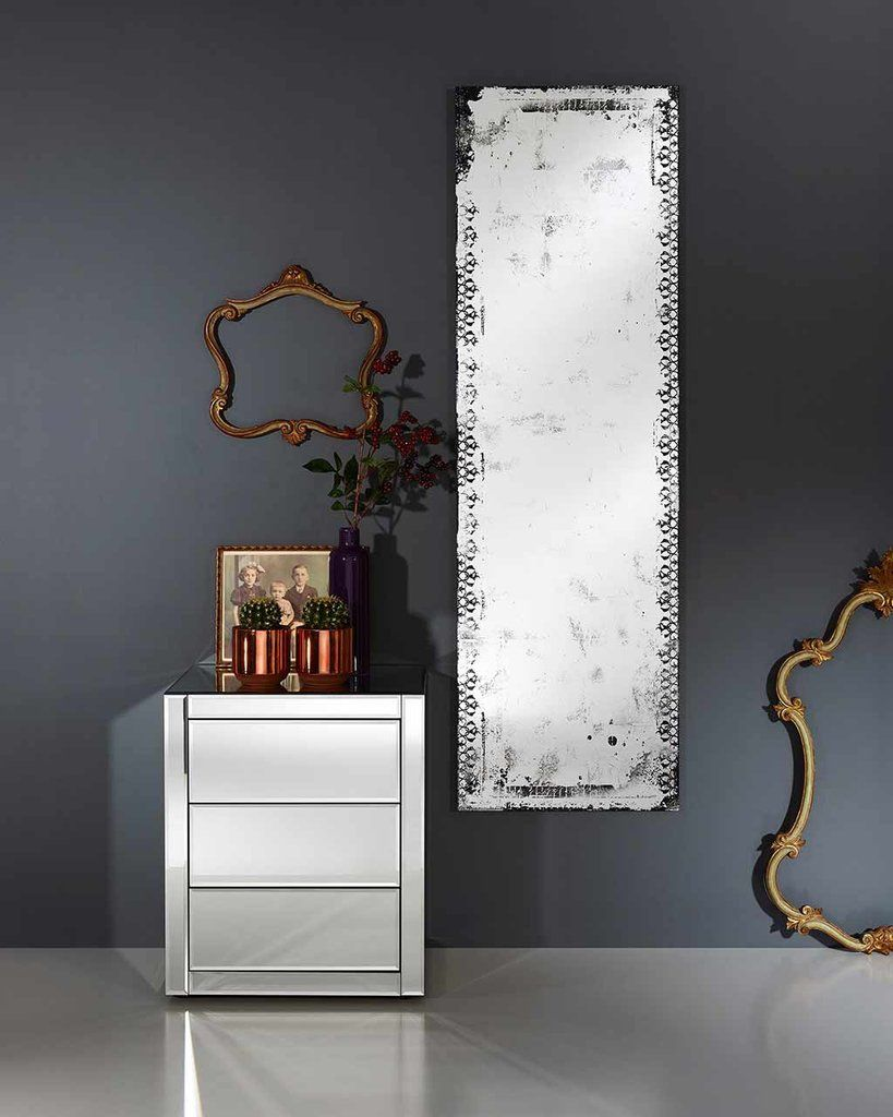Full Length Wall Mirror with Distressed Finish, Large | Free ...