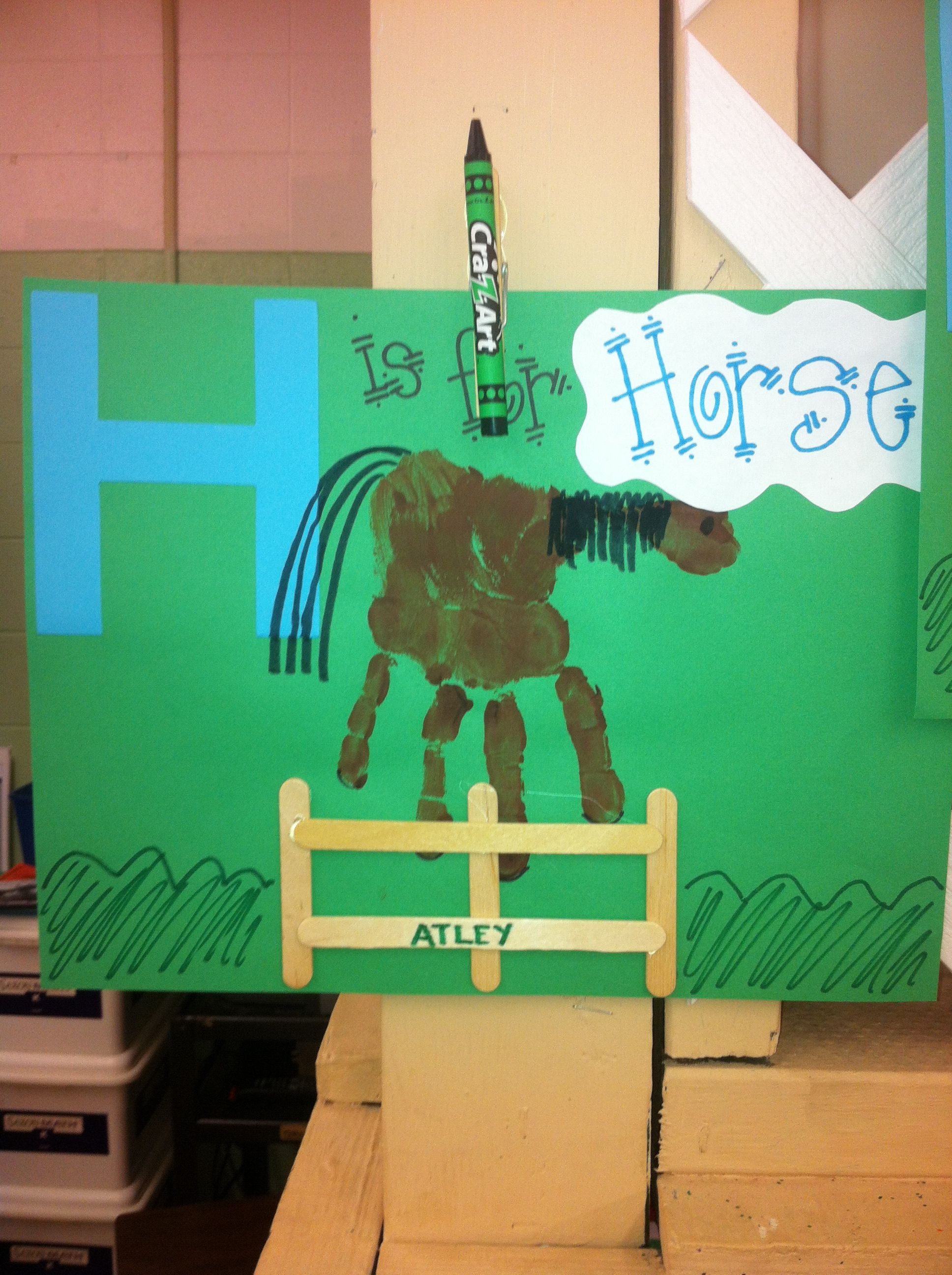 H Is For Horse Handprint