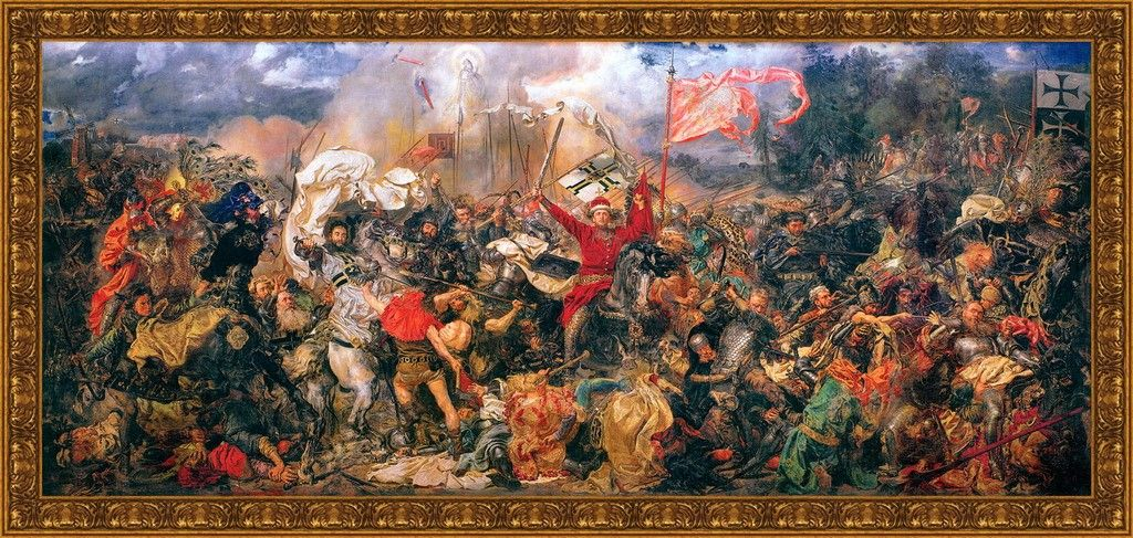 BATTLE OF GRUNWALD PAINTING POLISH LITHUANIA TEUTONIC WAR ART REAL CANVASPRINT