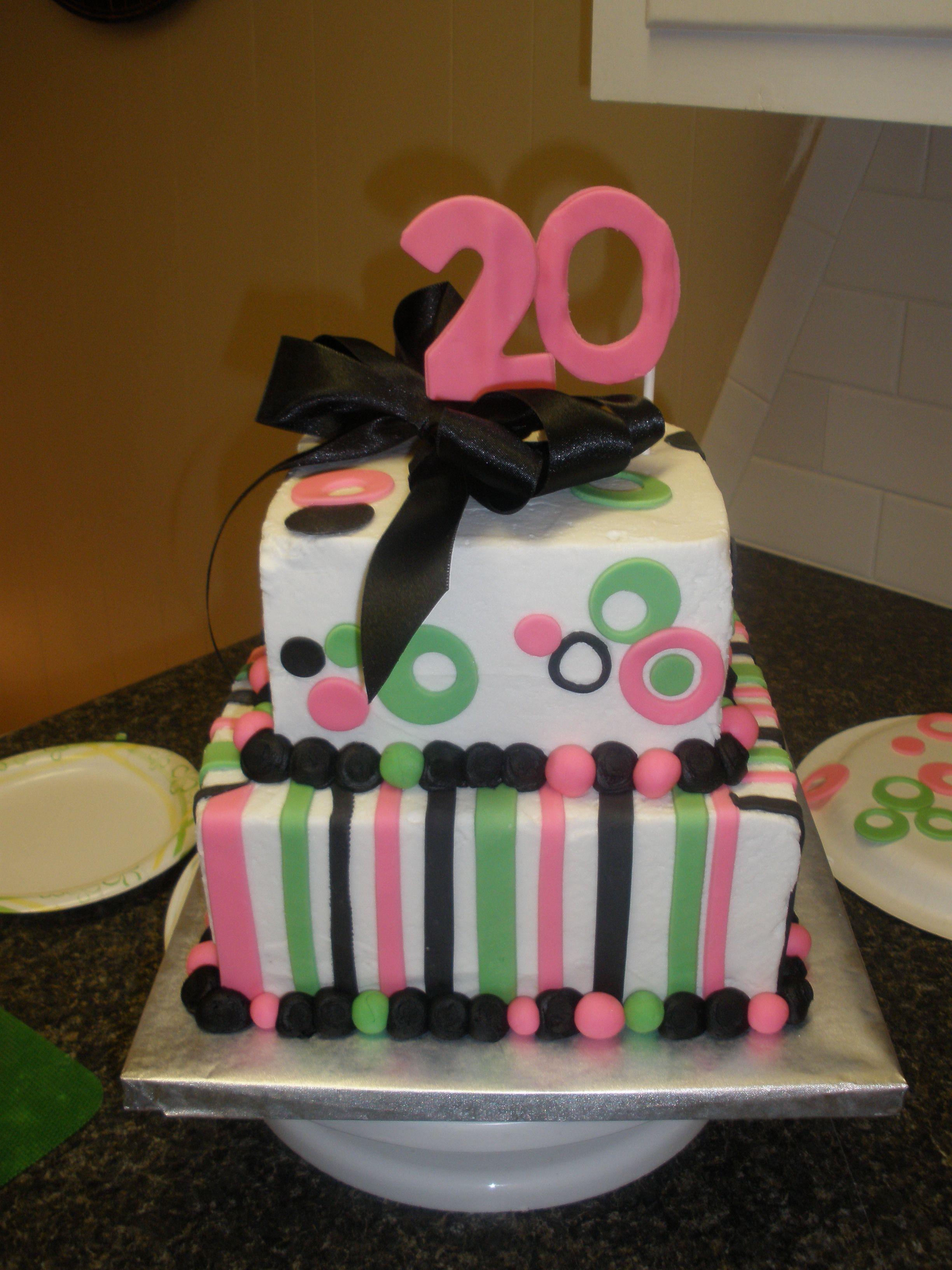 Hot Pink Green Black 20th Birthday Cake 20 Birthday Cake