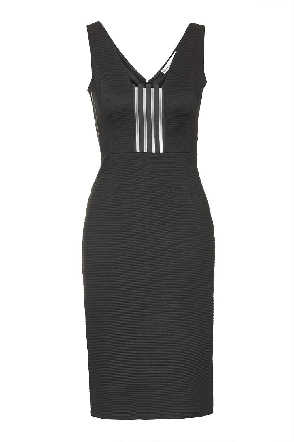 **Mesh Stripe Ribbed Midi Dress by Rare - New In Dresses - New In - Topshop