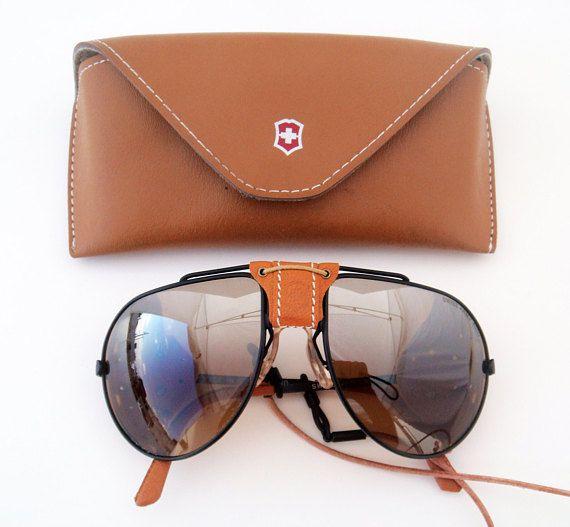 e0a17c7549f40 Vintage Unisex pair of Swiss Army 4000 Black Aviator Leather Shield  Sunglasses.
