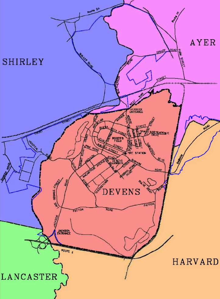 Surrounding Towns Map, Devens, MA | Maps | Map on