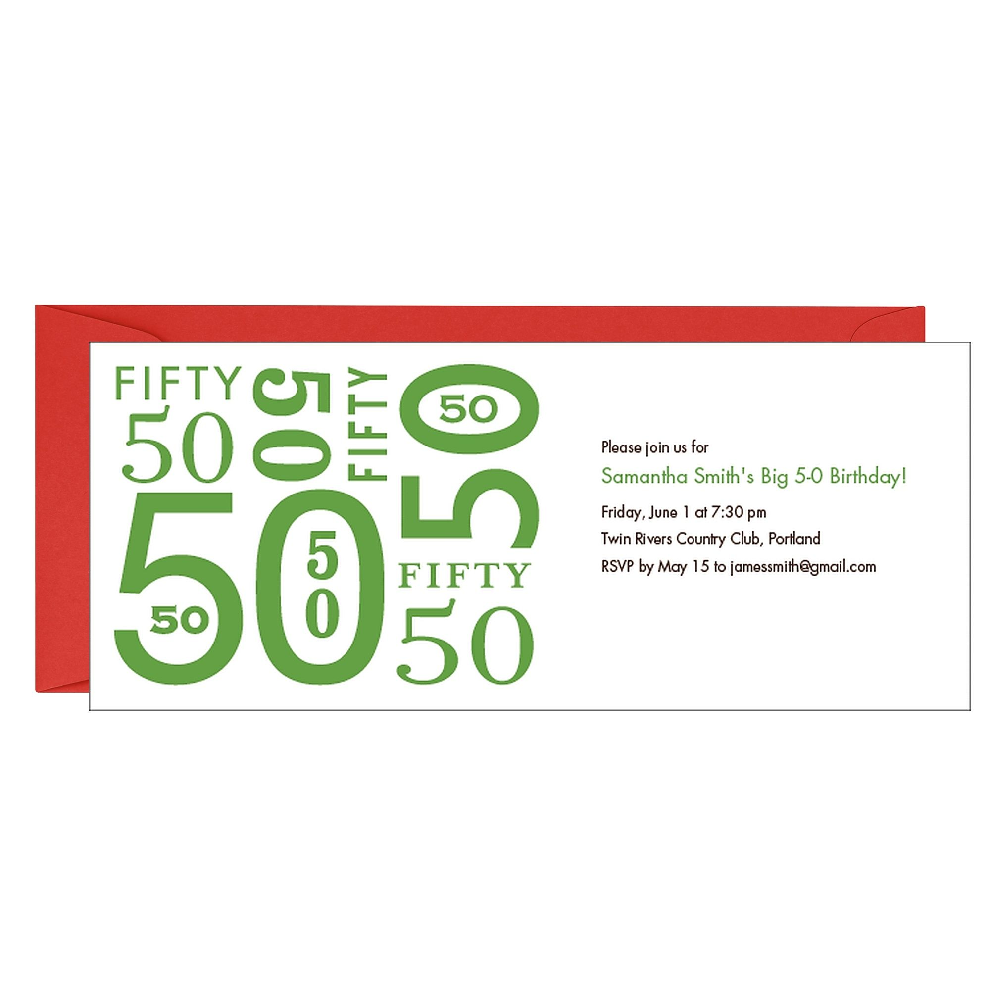 Numbers 50th Birthday Party Invitation | Event planning ideas ...