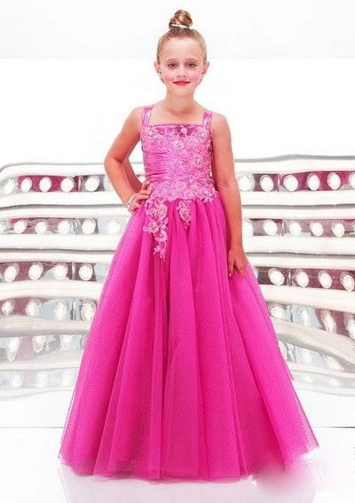 fd6b8803d Organza A-line Straps Long 11 year old prom dresses Flower Girl ...