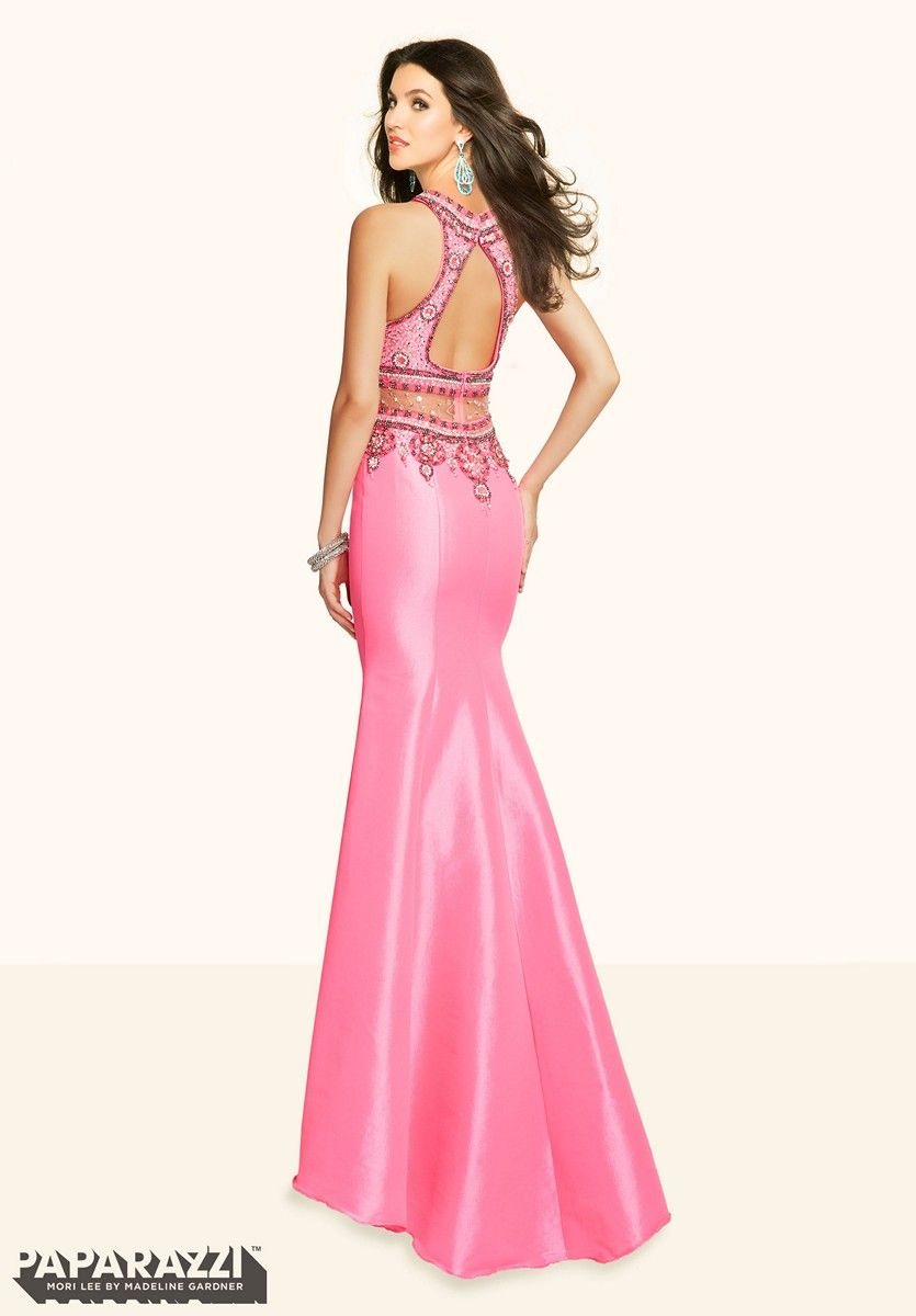 The mori lee paparazzi is a faux twopiece prom dress in