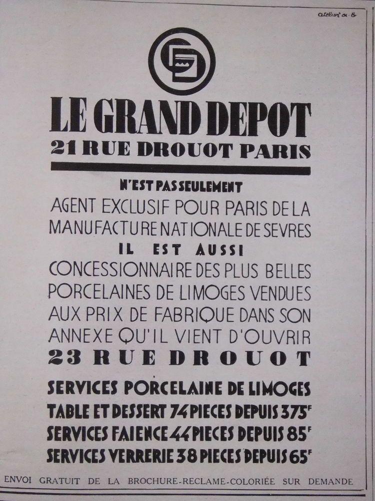 PUBLICITÉ LE GRAND DEPOT RUE DROUOT PARIS PORCELAINES DE LIMOGES 1920s