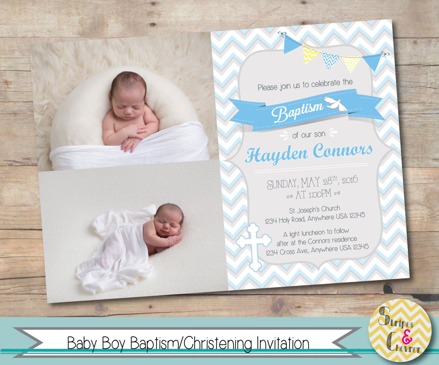 Boy baptism invitation personalized christening invite printable boy baptism invitation christening invite personalized printable photo baptism card christening card stopboris Image collections