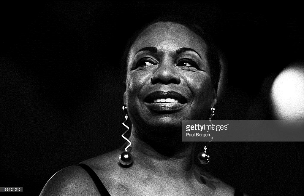 Photo of Nina SIMONE; Nina Simone portrait on stage at JazzMecca in Maastricht