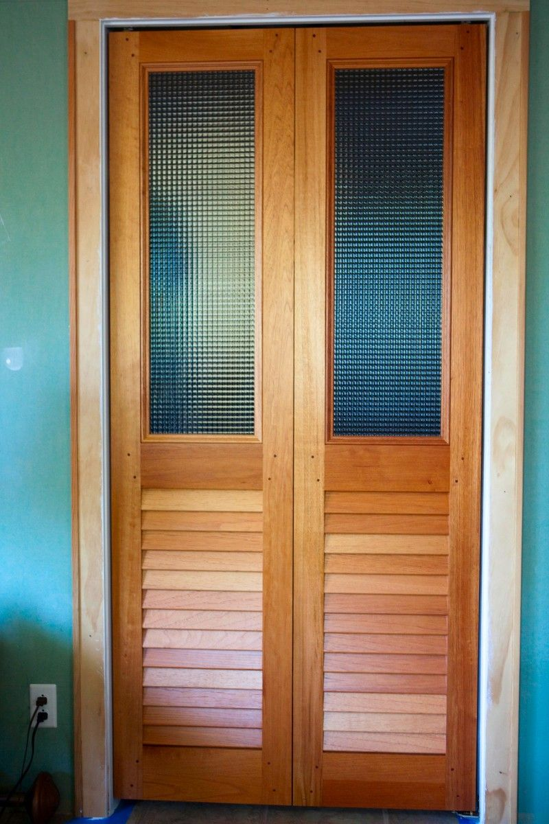 Custom Glass Over Louvered Bifold Doors Laundry Room In