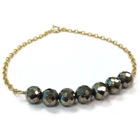 Pyrite Bracelet Yellow Gold Jewelry Bead Bar by jewelrybycarmal, $35.00