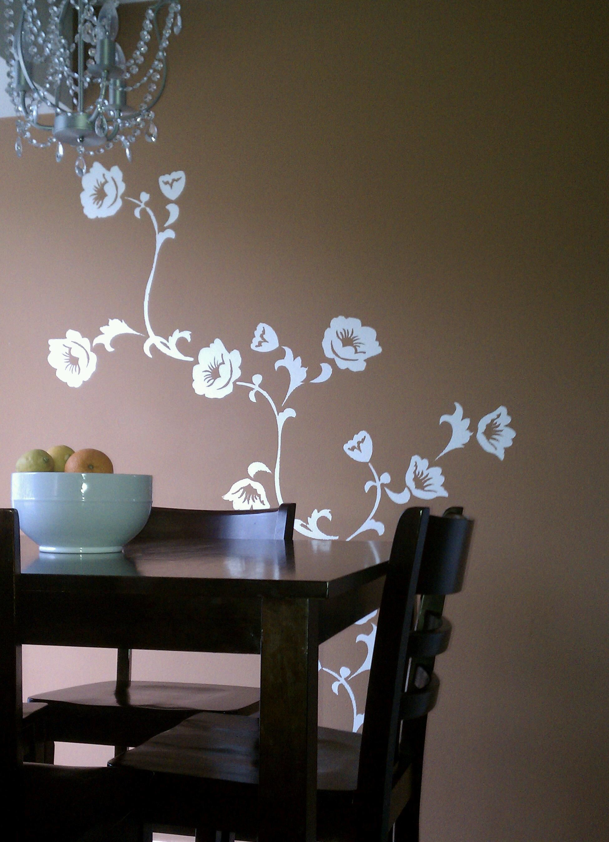 Bedroom Stencil Ideas. bedroom wall stencil ideas  Dining Room Decoration With Foral Wall Stencil