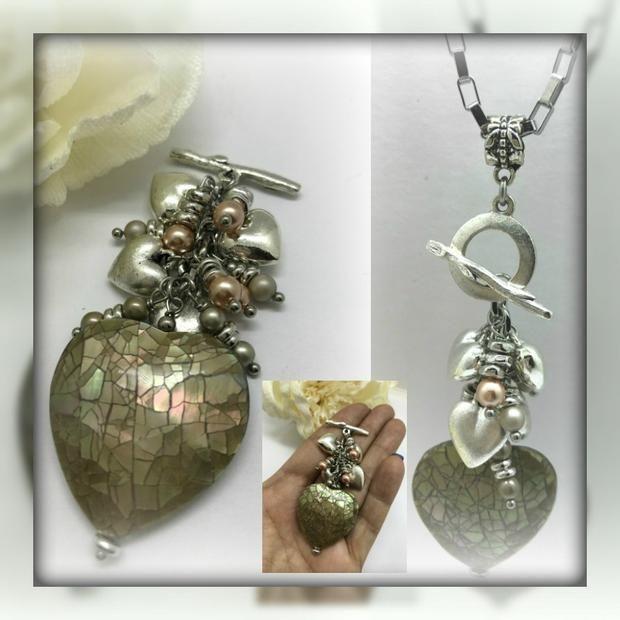 Heart conch shell interchangeable beaded pendant necklace 1482d heart conch shell interchangeable beaded pendant necklace 1482d aloadofball Choice Image