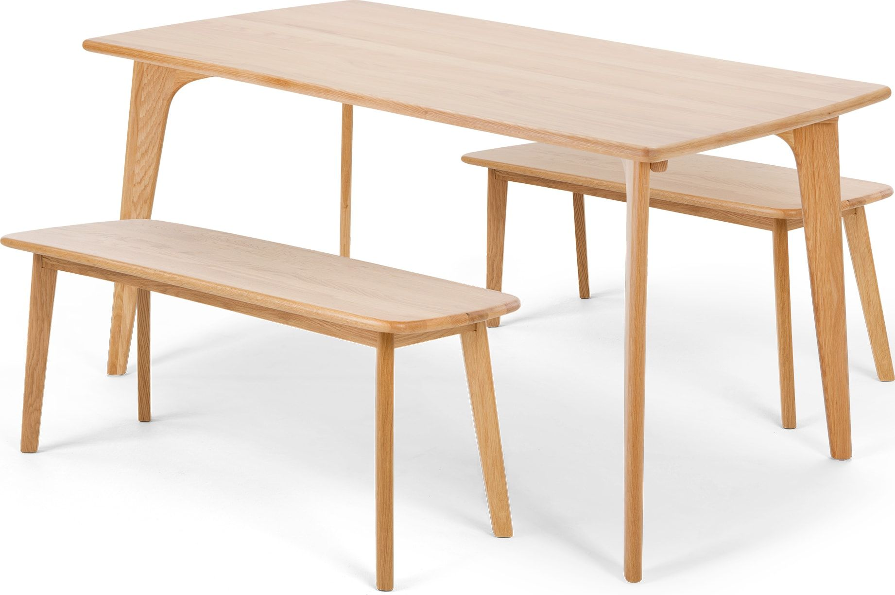 Fjord Rectangle Dining Table And Bench Set Oak Products Table