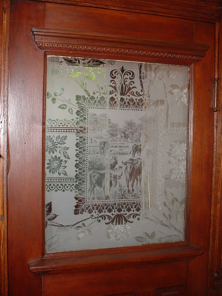 Etched Glass Vintage Beveled Office Doors
