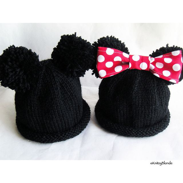 Mickey Amp Minnie Mouse Ears Hand Knit Baby Hat Mickey