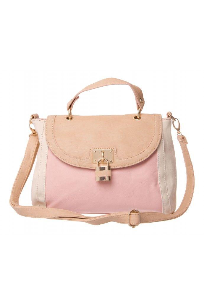 d003fb4b7480 Frankie Padlock Fold Over Tote in PINK TAN CREAM #5396 - colette by colette  hayman