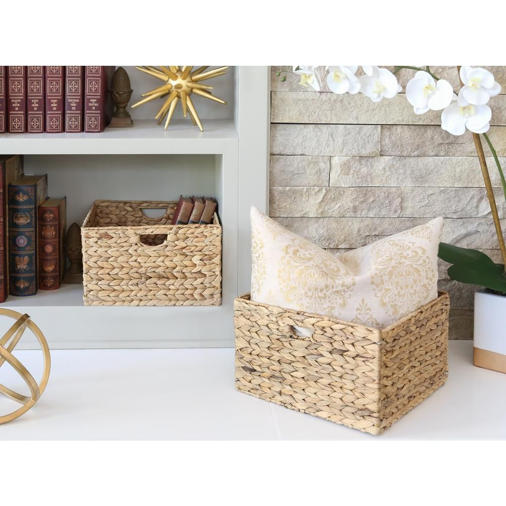 Seville Classics Water Hyacinth Storage Baskets, Hand-Woven 2-Pack-WEB168 – The Home Depot
