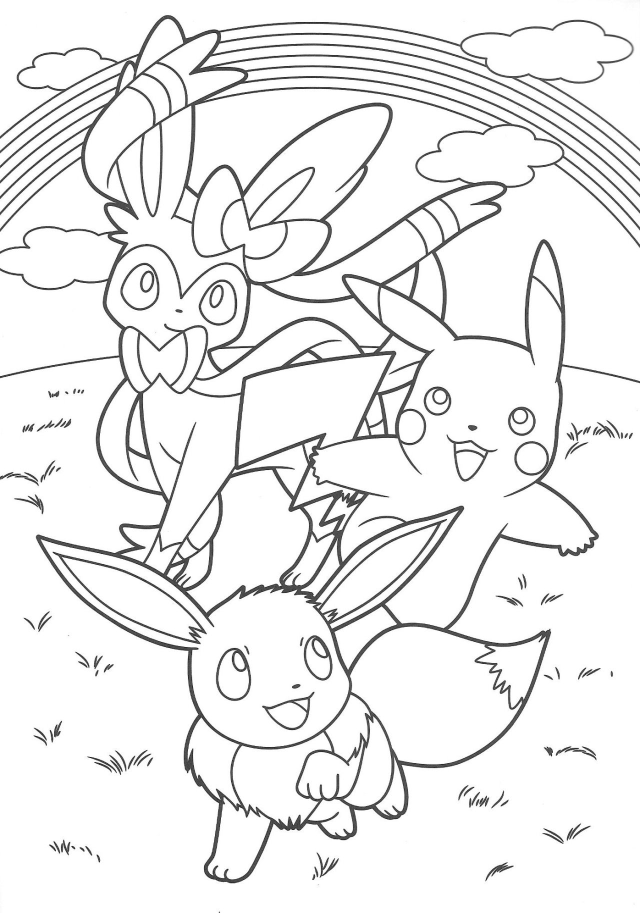 Eevee and pikachu coloring pages - Pikachu And Eevee Friends Coloring Book