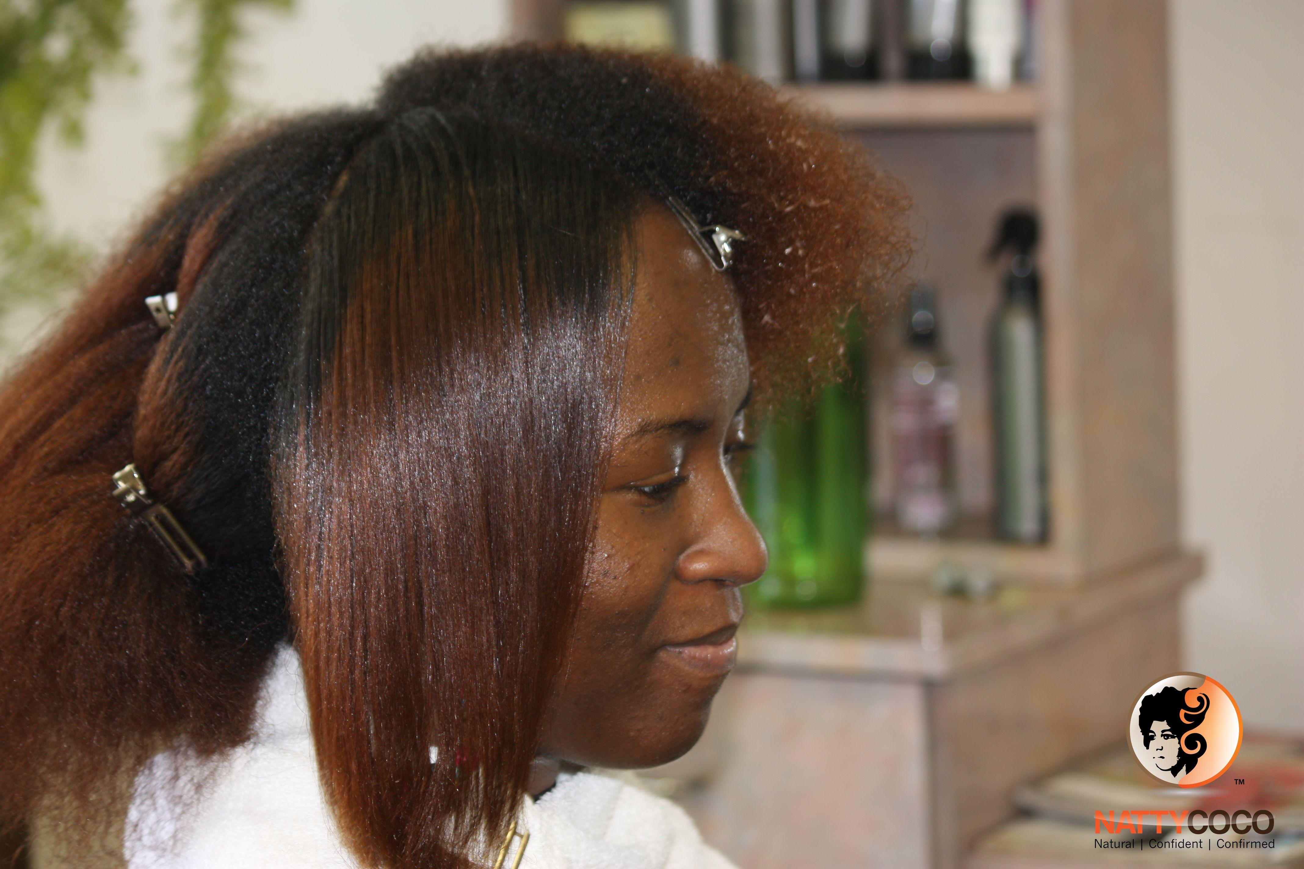 Flat iron afro textured hair straightening natural hair