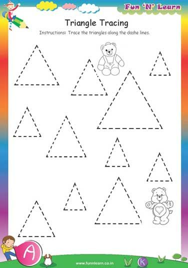 Triangle Tracing Free Worksheets For Nursery Okul Oncesi