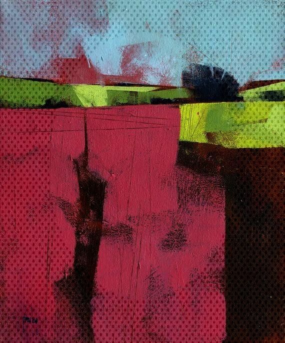 Abstract landscape painting by Paul Bailey: Herefordshire field