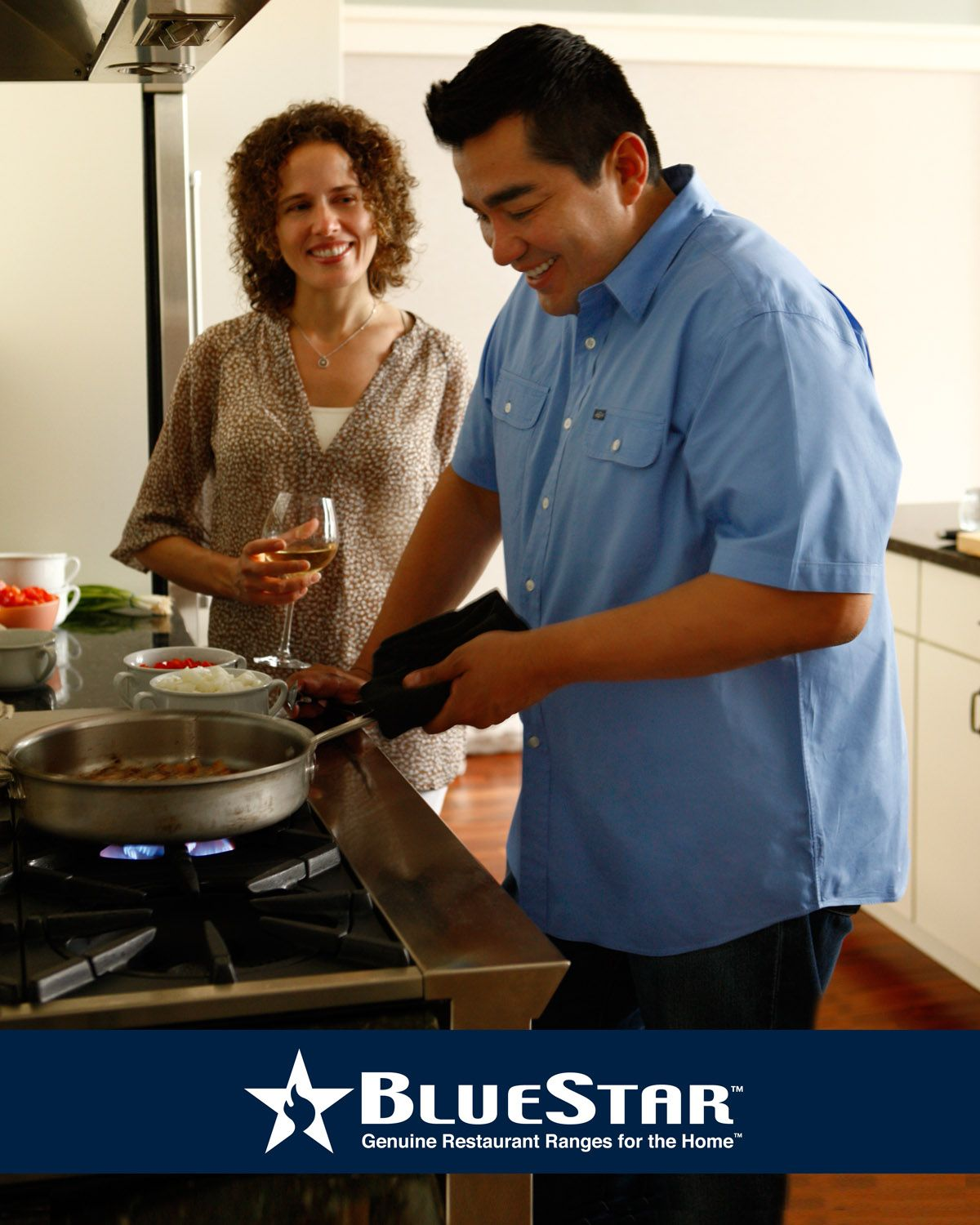 Chef Jose Garces cooking on his new BlueStar range.