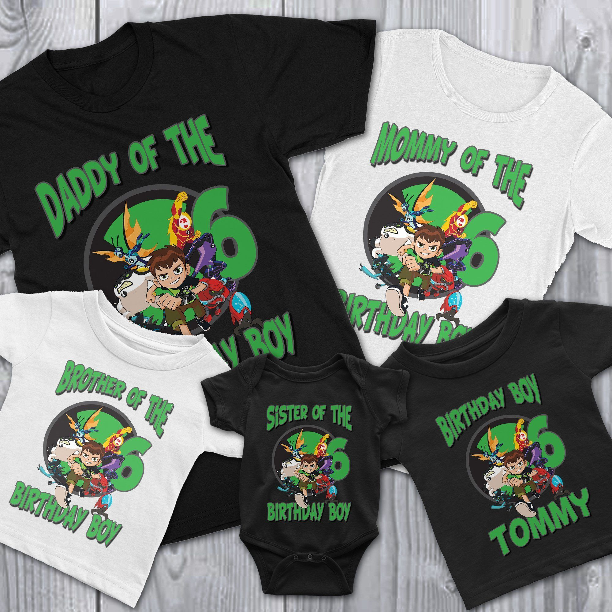 Ben 10 Birthday Shirt This Ben 10 Birthday Shirt is perfect for your child's birthday theme! Our Ben 10 Birthday Shirt are customized with your child's name and birthday age. You can get this Ben 10  Birthday Shirt on infant, toddler, youth or adult size. Our Ben 10  Birthday Shirt is 100% cotton which is already pre-shrunk and enzyme washed to give it the smoothest and softest feel. How to order a Personalized Ben 10 Birthday Shirt Select Size and Color Provide Name and Age Select if it's for