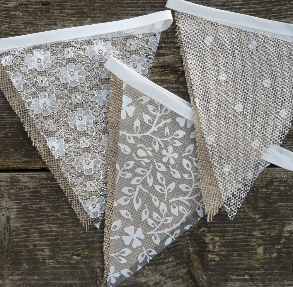Zimmer Shabby Chic lace hessian bunting wedding shabby chic spots or floral vintage