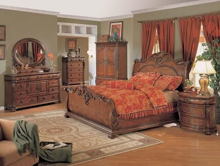 Best Rc8000Q Rockport Queen Size Carved Sleigh Bed Scrolled 640 x 480