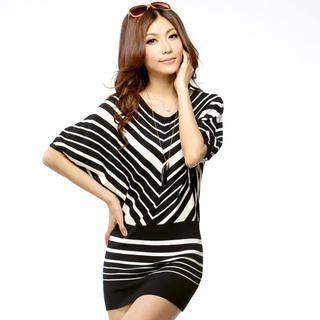 Tube-Hem Striped Tunic