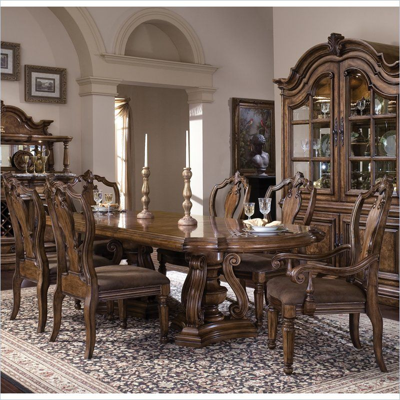 Pulaski San Mateo Double Pedestal Formal Dining Table in Brown