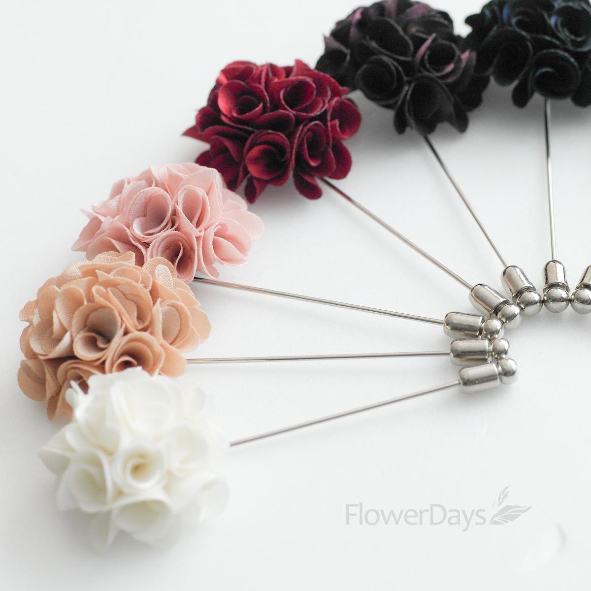 Satin Mini Bouquet MENS FLOWER Boutonniere Buttonhole For WeddingLAPEL PIN From Petallikelove