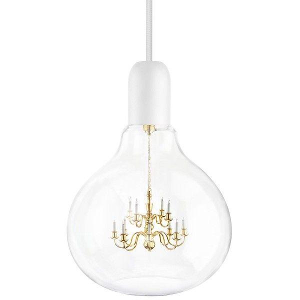Mineheart - King Edison Pendant Lamp White (71.400 RUB) ❤ liked on Polyvore featuring home, lighting, ceiling lights, white lights, white ceiling lights, white chandelier, light bulb chandelier and white pendant lighting