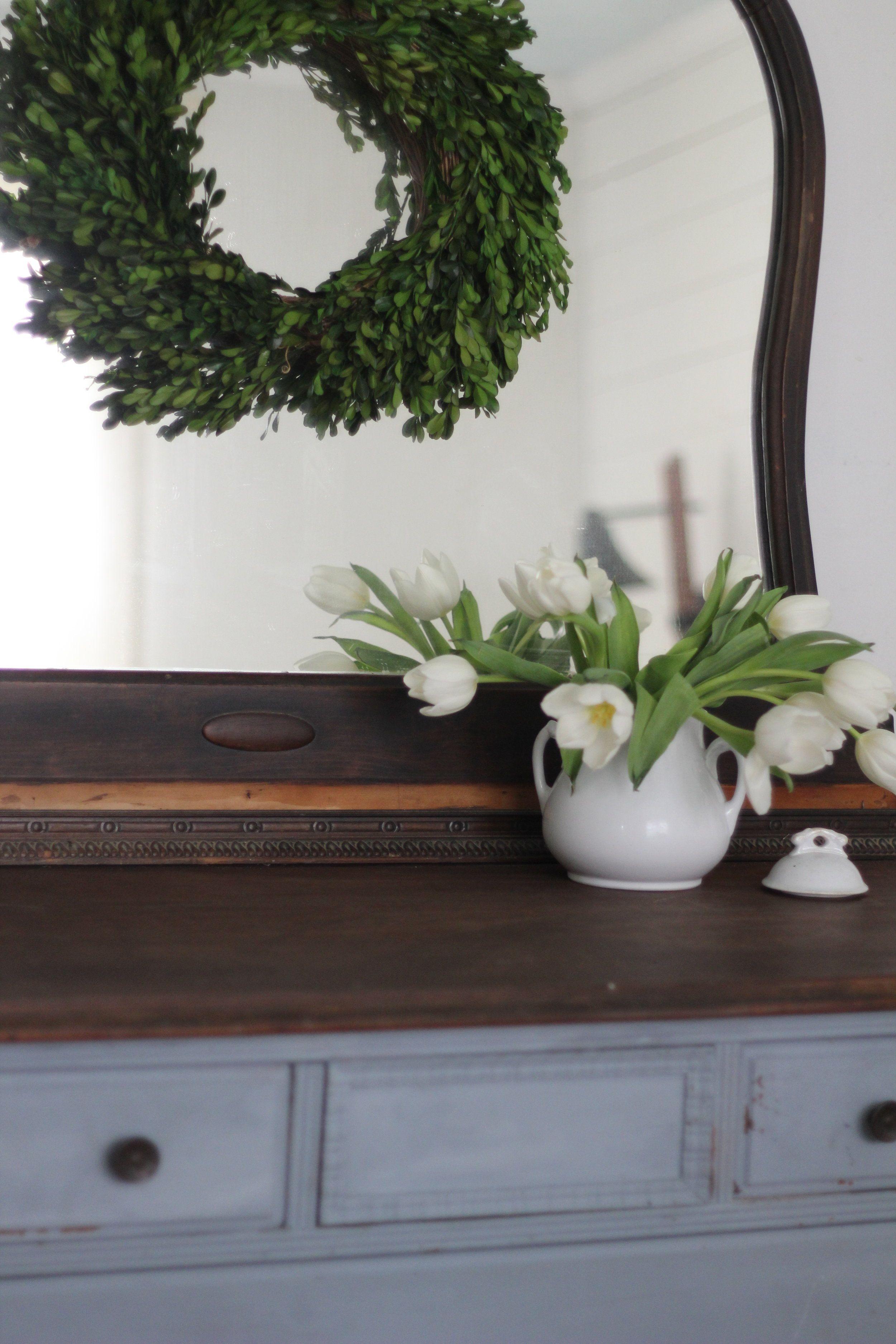 Milk Paint Dresser In Shutter Gray Boxwood Ironstone