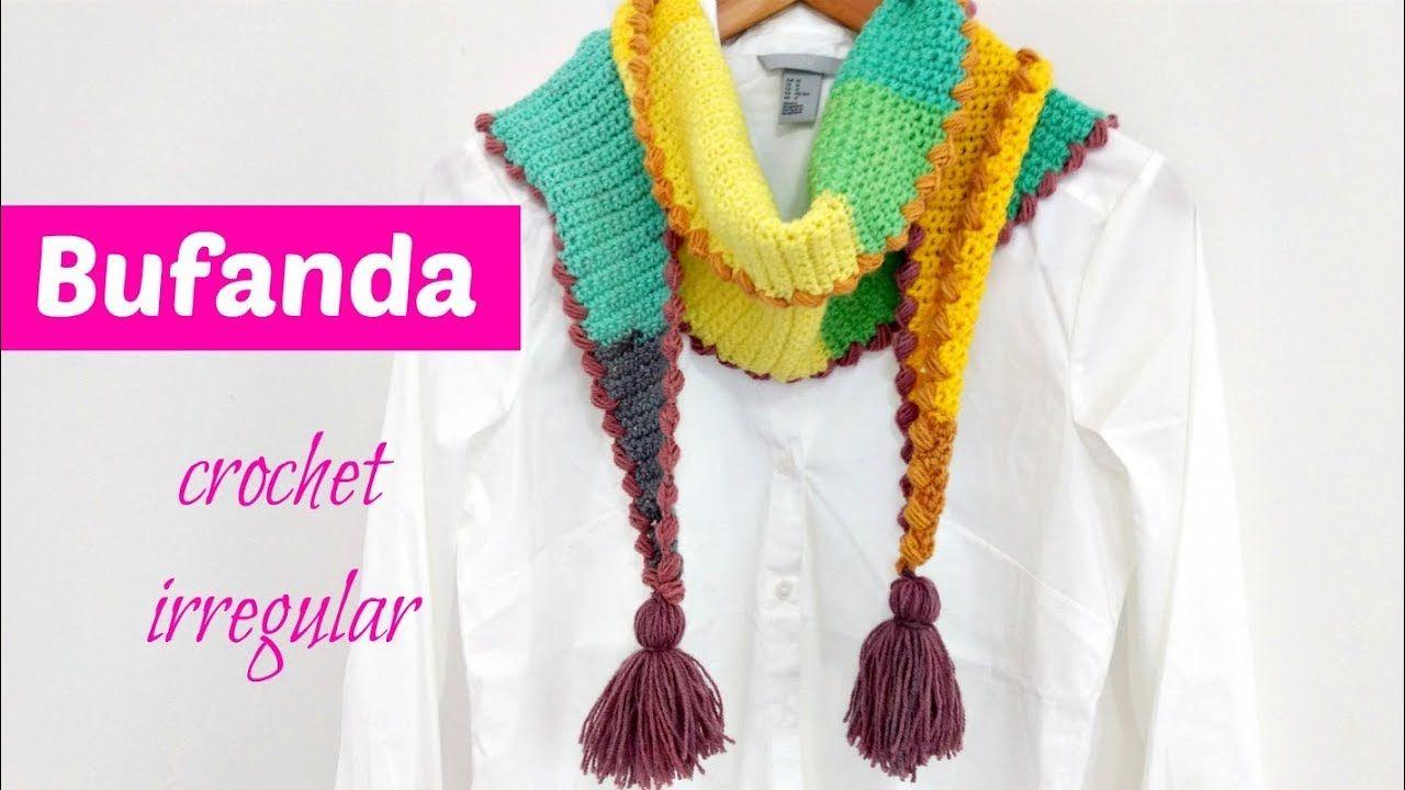Bufanda crochet corte irregular muy fácil | atkı-boyunluk-şal ...