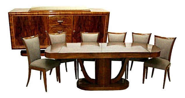 5736 Beautiful 8 Piece Art Deco Dining Set C 1920