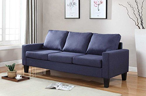 """Home Life 3 Person Contemporary Upholstered Linen Sofa, 77"""" Wide, Dark Blue"""
