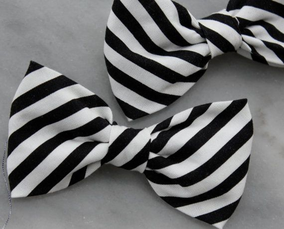 1bf3dc089533 Boy's Black and White Stripe Bow Tie clip by DivineDomestication, $15.00