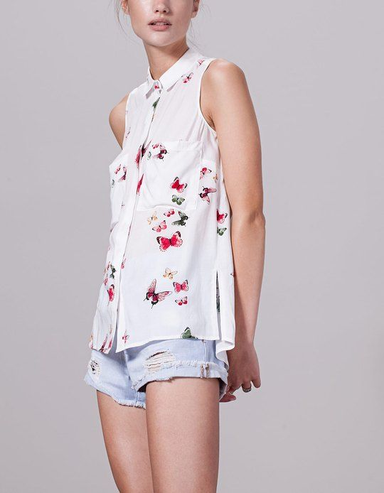 Camisa con cuello de pico | Azul claro | MUJER | H&M MX
