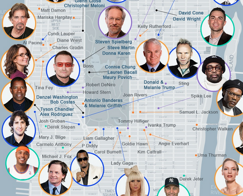 Here Now Mapping Where 243 Nyc Celebrities Live Right Now Celebrity Real Estate Nyc Celebrities