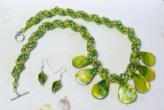 Green Necklace Beads Statement Long Chain Rope Bead Womens