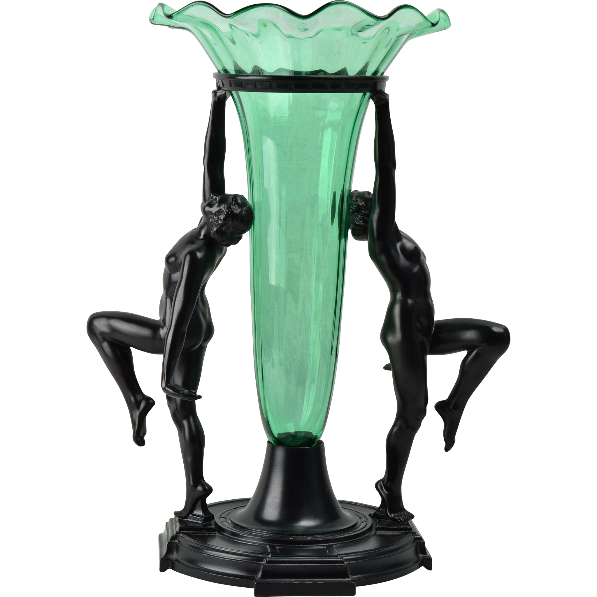 #VintageBeginsHere at www.rubylane.com @rubylanecom --Steuben Glass 1928 Nile Green #1192 Vase inset Bronze 2 Nudes Rehberger