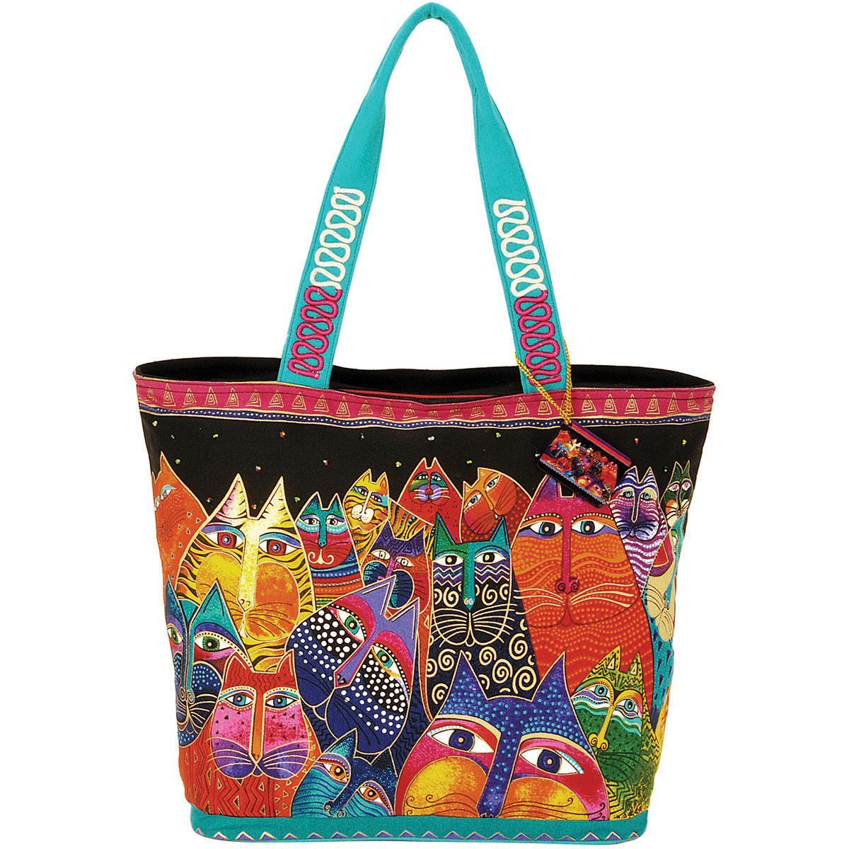 Laurel Burch Shoulder Tote Zipper Top 19.5x6.75x15 - Fantasticats #zippertop