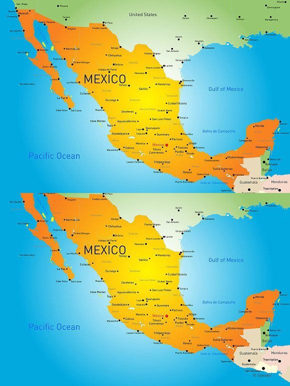 mexico country map illustration vector
