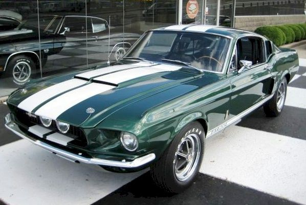 example of dark moss green paint on a 1967 ford mustang